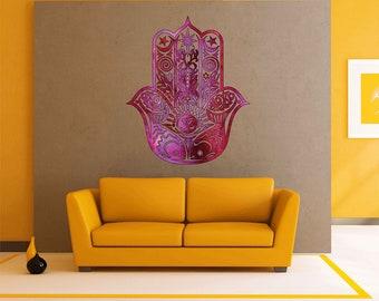 cik1843 Full Color Wall decal Watercolor Hamsa amulet hinduism living room bedroom