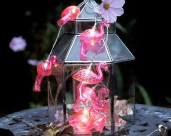 Flamingo led String Lights  -Rockabilly Pink Flamingos, Bedroom,Party Decor, Nursery, Childrens room,Home Decor,Battery Operated
