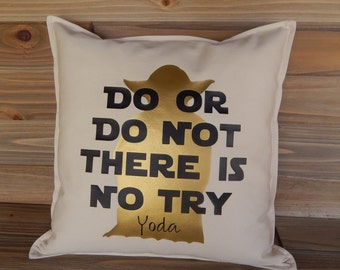 Star Wars Inspired 16 x 16 Pillow Cover, Star Wars Pillow, Star Wars Home Decor, Yoda Quotes, Decorative Pillow, Throw Pillow