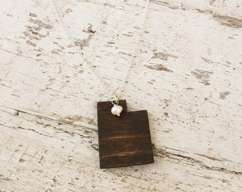 Utah, Utah State Necklace, Wooden State Necklace, Utah Jewelry,  Personalized Gift, Going Away Gift