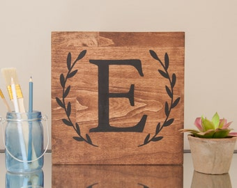 10x10 Letter with Wreath Painted Wood
