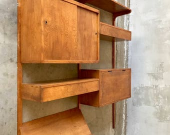 Mid century modern wall unit walnut