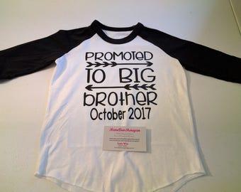 Promoted to Big Brother Raglan, Big Brother Baseball Shirt, Big Brother Tshirt, Promoted to Big Brother Shirt