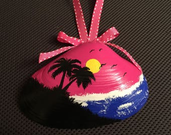 Tropical Sunset Handpainted Shell