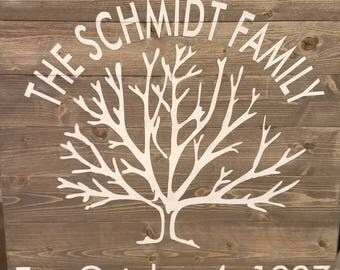 Established family tree sign