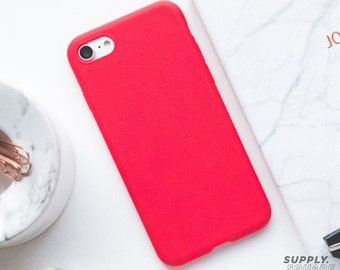 iPhone 7 Case - Matte Red - Rubber iPhone Case, iPhone Case Red, iPhone 7 Case, Minimalist iPhone Case, Soft iPhone Case, Matte Red Case