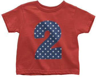 2 Year Old Birthday Boy Shirt with Stars for Two Year Old Stars Pattern Birthday Shirt for Toddler Gift for Two Year Old Sizes 2T to 6T