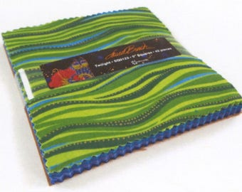 "Laurel Burch Twilight Charm Pack with Metallic Accents 42 5"" squares cotton precut quilting fabric material SQ0123"