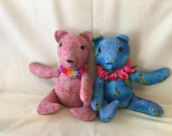 Hawaiian Bear Blue & Pink with flower lei.