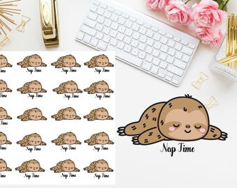 Sloth nap time planner stickers