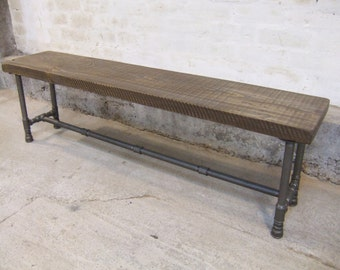 Reclaimed Timber Beam on Iron Pipe Frame Bench Seat