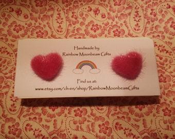 Pink Heart Earrings, Pink Fluffy hearts, Stud Earrings