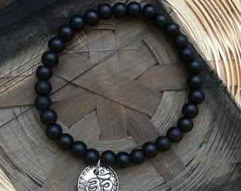 Hinduism Om/Aum Charm Matte Black Bracelet