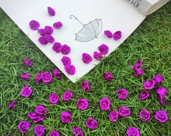 Silken Purple Satin Roses Applique (15mm each- 20pcs/ 50 pcs), Tiny Rolled Rose Buds, Small Sew on Flower, Headband, Mini Craft Bows