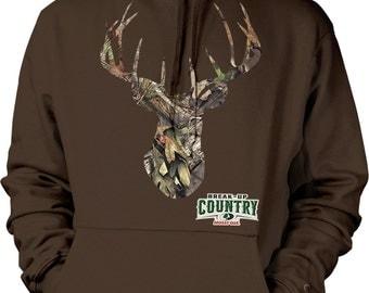 Deer Head, Mossy Oak Break-up Country Camo Hooded Sweatshirt, NOFO_00825