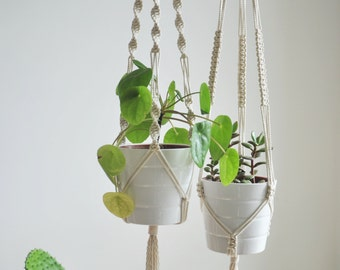 set of macrame plant hangers, 2 macrame plant holders, modern hanging planter, plant pot holder, double hanging planter, hygge decor, boho