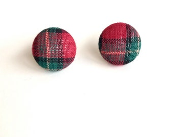 Red & Green Plaid Fabric Button Earrings