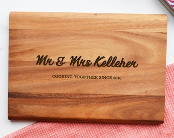 Personalised Mr and Mrs Chopping Board - Engagement Wedding Anniversary Gift
