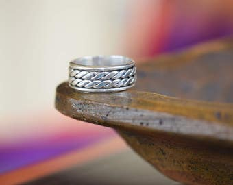Vintage 925 Mexico Silver Double Rope Band, US Ring Size 12.0, Unisex Vintage Jewelry