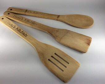 Personalised Wooden Kitchen Utensils Spoon Spatular Slice