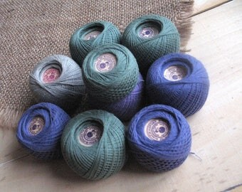Lot of 9 vintage balls Thread sewing darning mending Craft supplies Purple green grey cotton Thread creativity projects Made in the USSR