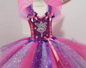 Fairy sparkle tutu dress pink purple wih wings