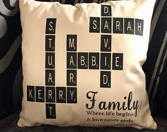 Personalised family cushion cover ideal gift for birthdays