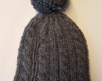 Hand Knitted Cabled Baby Hat
