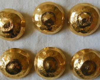 Vintage very RARE lot 6 3 diameter 2.5 cm curved brass buttons and diameter 2 cm 3 Excellent condition