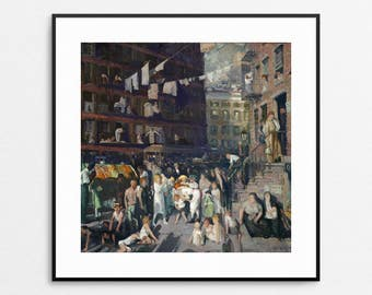 Cliff Dwellers - George Bellows Painting - NYC Art - New York City Painting - New York City Wall Art - Hanging Laundry - Giclee Print