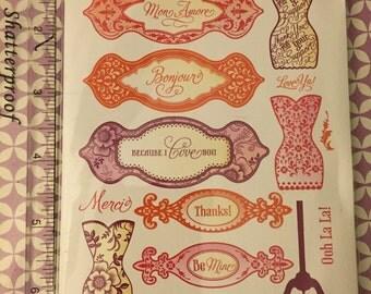 NEW JustRite Papercraft Ooh La La French Frills Sentiments, Tags, Dress forms