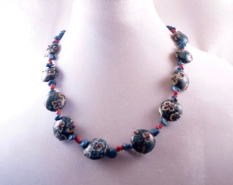 Blue with White Flowers Necklace
