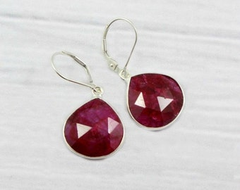 Sterling Silver Earrings, Ruby Earrings, Dangly Earrings, Drop Earrings, Gift for her, Gift for Mom, July Birthstone, Dangle Earrings,