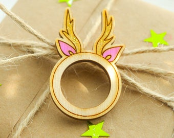 Wooden Ring, Cute Wooden Ring, Hand Painted, Laser Engraved Ring, Deer Ring, Horn Ring