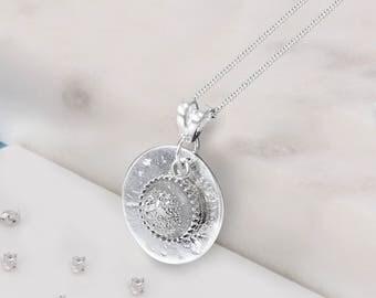 Sterling silver ashes/hair resin gem memorial pendant