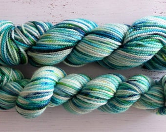Hand dyed sock yarn, wool bamboo silk, 4 ply fingering, 50g skein x 2, blue, green, Shallow Water