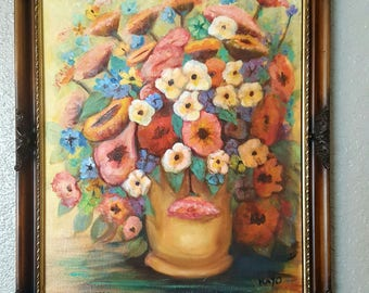 Painting floral painting vintage floral painting signed