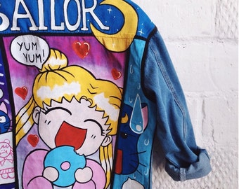 Sailor Moon hand painted denim jacket, painted clothing