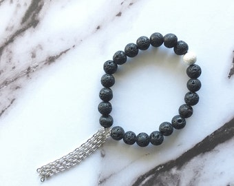 Lava Rock Chain Bracelet by Sarahndipity Jewelry || beaded, stretch, stackable, black, silver