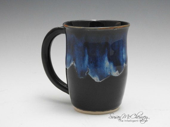 Handcrafted Stoneware Coffee/Tea Mug with Beautiful Bright Blue Around Rim and Handle