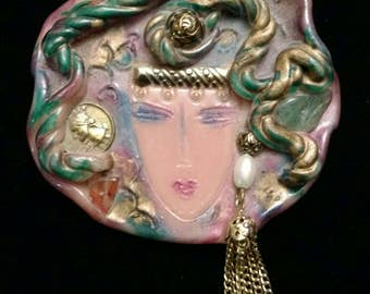 Vintage Colorful Gypsy Woman pin brooch