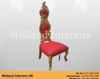 NEW Sofia Baroque Throne Chair - Gold & Red leather