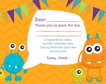 Little Monster's Thank You Notes - Fill in