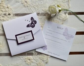 Passionate Purple Pocketfold Wedding Invitation with RSVP - SAMPLE