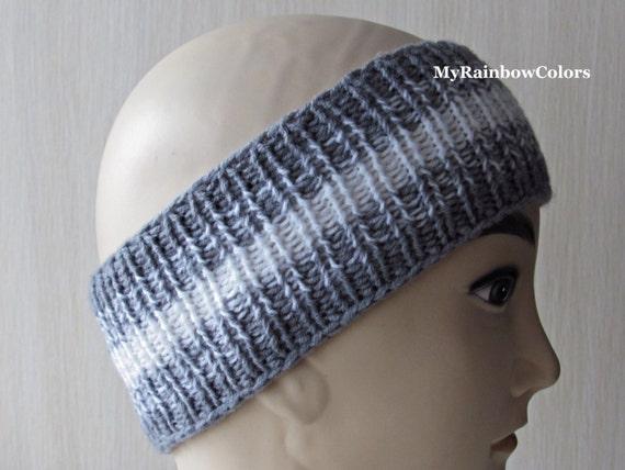 Grey White Knit Headband Striped Headband Knit Head Wrap