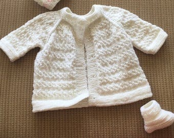 Hand Knitted Baby Cardigan and Booties Set (CUSTOMIZABLE)