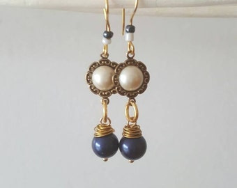Pearl Earrings, gift, mother's day, something blue.