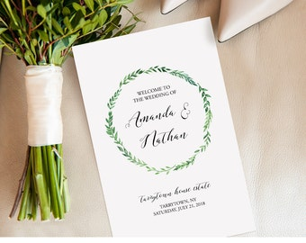 Wedding Program Template, Printable Ceremony, Order of Service, INSTANT DOWNLOAD, Editable, Folded Program, Green Wreath, PDF  #026-112WP