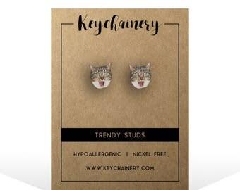 Cat Stud Earrings - Animal Earrings - Kitten Studs - Nickel-free Stud Earrings - Cute Cat Studs