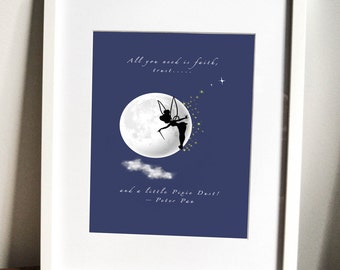 Tinker Bell Print, nursery art, children's bedroom decor, fairy picture, girl's room, fairies, Peter Pan
